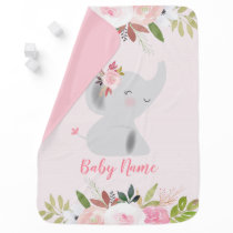 Pink Elephant Floral Stroller Blanket