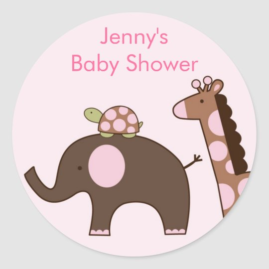 Pink Elephant Giraffe Stickers Envelope Seals