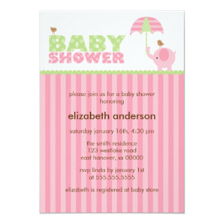 Pink Elephant Girl Baby Shower Card