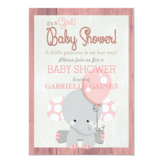 Pink Elephant Girl Baby Shower Country Invitation