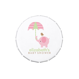 Pink Elephant Girl Baby Shower Jelly Belly Candy Tins