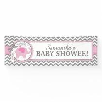 Pink Elephant Girl Chevron Baby Shower Banner