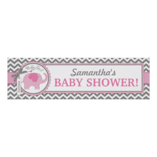 Pink Elephant Girl Chevron Baby Shower Banner Poster