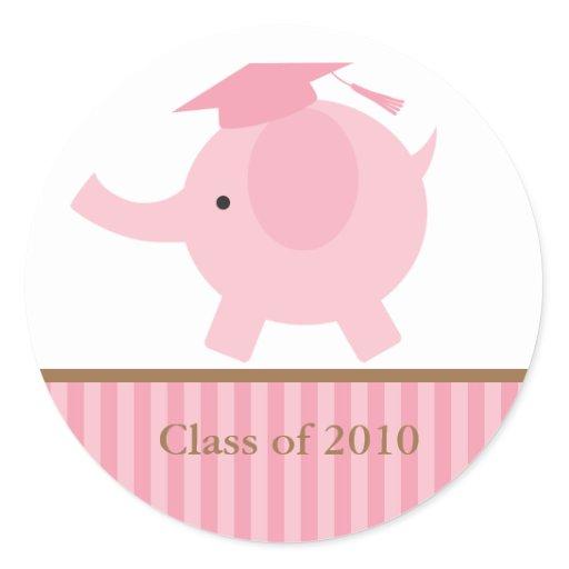 Pink Elephant Graduation Classic Round Sticker