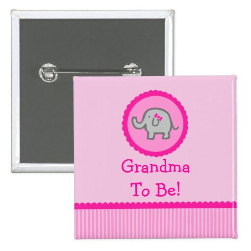 """Pink Elephant """"Grandma To Be"""" Baby Shower Button"""