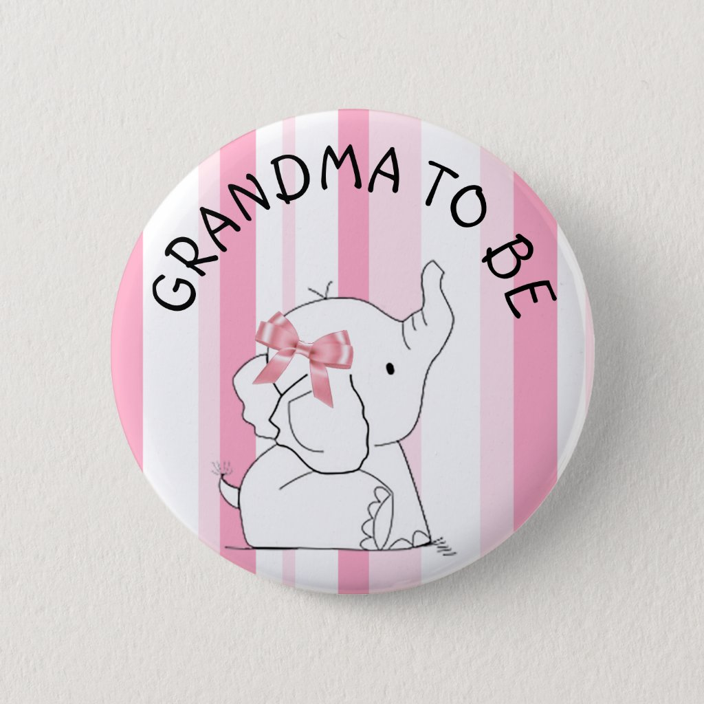 Pink Elephant Grandma to be Baby Shower Pin