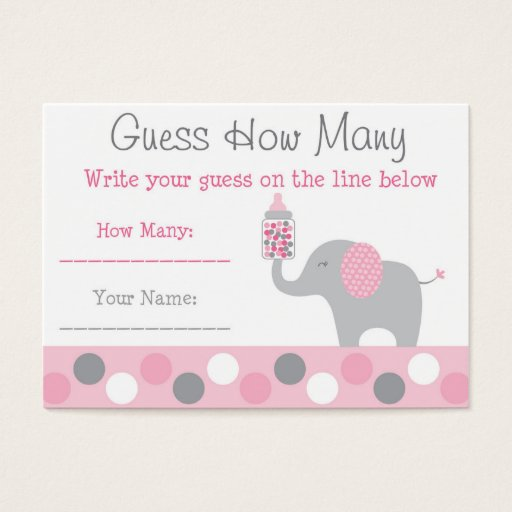 Pink Elephant Guess How Many Cards