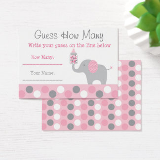 Pink Elephant Guess How Many Game Business Card