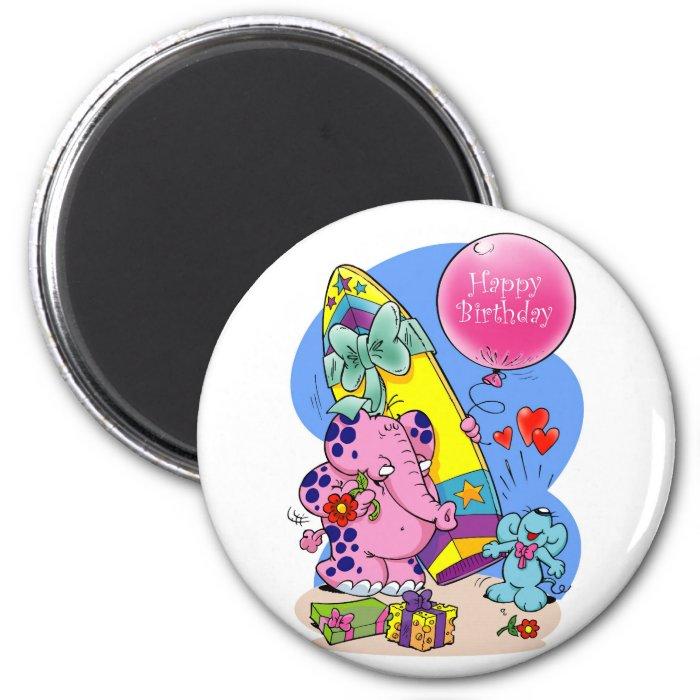 Pink Elephant - Happy Birthday my friend 2 Inch Round Magnet