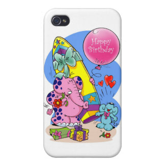 Pink Elephant - Happy Birthday my friend Cases For iPhone 4