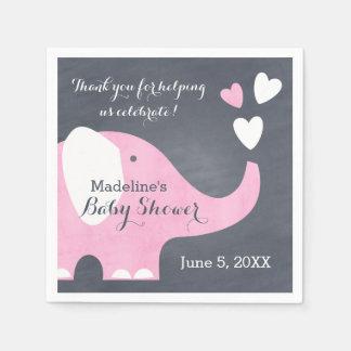 Pink Elephant Heart Paper Napkin