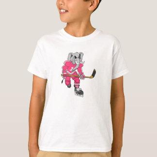 Pink Elephant Hockey Player T-Shirt