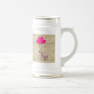 Pink elephant holding balloons beer stein