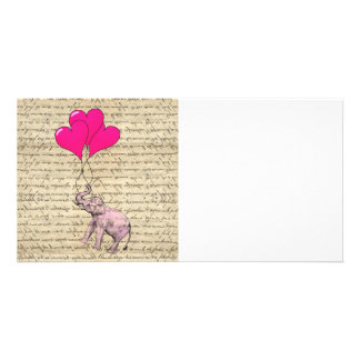 Pink elephant holding balloons card