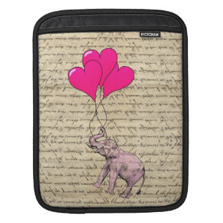 Pink elephant holding balloons sleeves for iPads