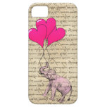 Pink elephant holding balloons iPhone 5 cases
