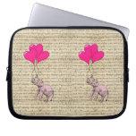 Pink elephant holding balloons laptop computer sleeve