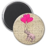 Pink elephant holding balloons magnets
