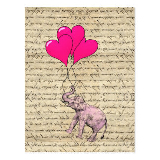 Pink elephant holding balloons post card
