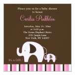 Pink Elephant (It's a Girl) 5x5 Invite