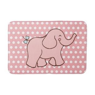 Pink Elephant Kids Bathroom Rug Bath Mat