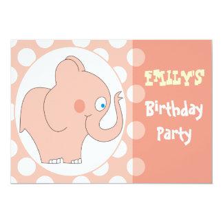 Pink Elephant Kids Birthday Party Invitations
