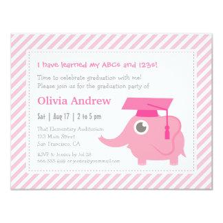 Pink Elephant Kids Kindergarten Graduation Party Card