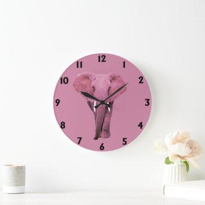 Pink Elephant Large Clock