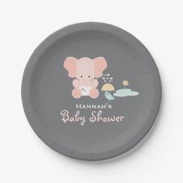 Pink Elephant Little Bird Baby Shower Paper Plate  sc 1 st  Zazzle & Pink Gray Grey Yellow Plates | Zazzle