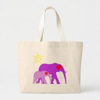 Pink Elephant Love Jumbo Tote Bag