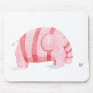Pink Elephant meets Purple Bird Mouse Pad