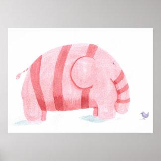 pink elephant meets purple birdie poster