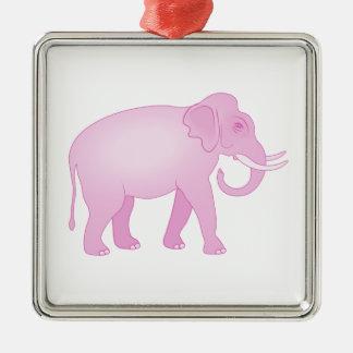Pink Elephant Metal Ornament