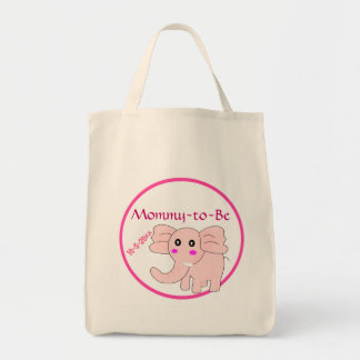 Pink Elephant Mommy-to-Be Baby Shower Tote Bag
