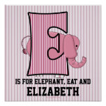 "Pink Elephant Monogrammed ""E"" Baby Room Poster"