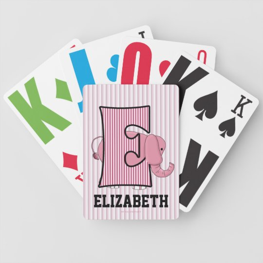 Pink Elephant Monogrammed Kid'sPlaying Cards