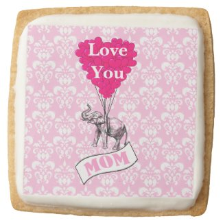 Pink elephant Mothers day Square Shortbread Cookie