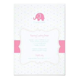 Pink Elephant Multicolor Polkadot Baby Shower Invi Card