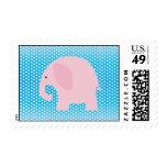 Pink Elephant on Blue Stamp