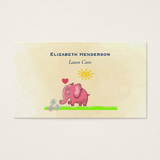 Pink Elephant On Green Grass Smelling Flowers Business Card