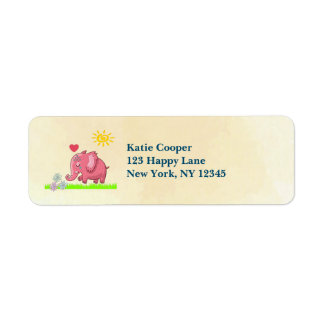 Pink Elephant On Green Grass Smelling Flowers Label