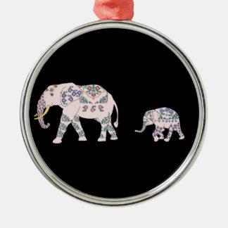 Pink Elephant Parade Metal Ornament