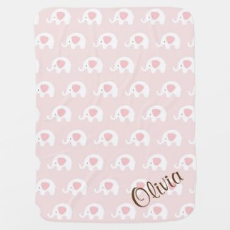 Pink Elephant Pattern Girl Baby Blanket