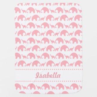 Pink Elephant Personalized baby girl blanket