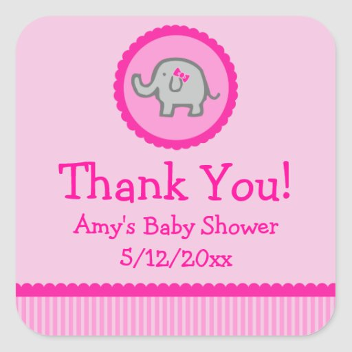 elephant personalized baby shower favor tags square sticker zazzle