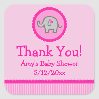 Pink Elephant Personalized Baby Shower Favor Tags Square Sticker