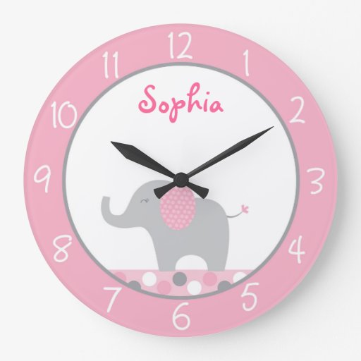 Pink Elephant Personalized Nursery Wall Clock