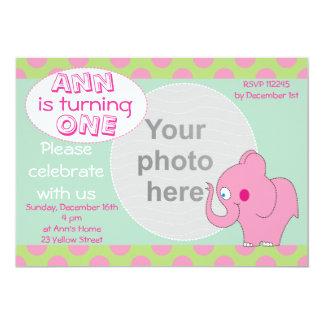 Pink Elephant Photo Birthday Invitation,Babies 1st Card