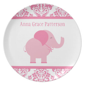 Pink Elephant Party Plates
