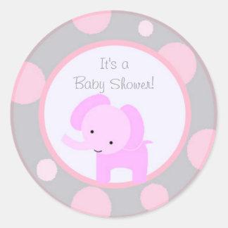 Pink Elephant Polka Dot Baby Shower sticker cute